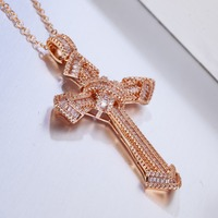 Luxury Jewelry Christianity Cross Pendants sona diamant painting full Real 925 silver & rose gold Hip hop Necklace For women men