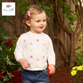 DB4393 davebella spring new girls floral sweater colorful dots print pullover knitted