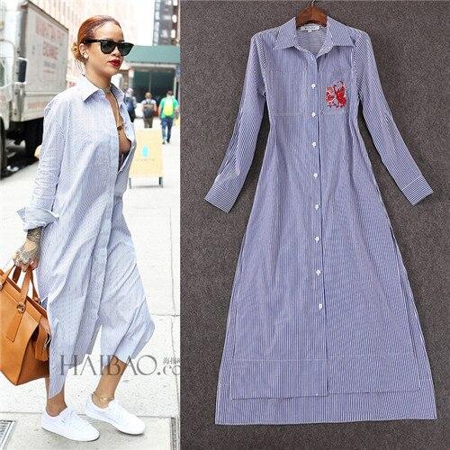 1df1ea5e2fbe high quality dresses for women white and navy blue striped dress long  sleeve polo collar button shirt long dress high split