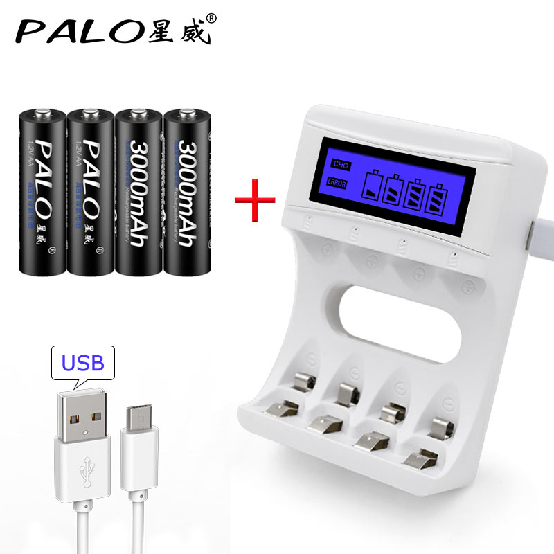 Smart Battery Charger For Ni-Cd Ni-Mh Rechargeable Batteries AA/AAA USB Charger LCD Display With 4pcs AA 3000mAh Battery trustfire rechargeable 1 2v 2700mah ni mh aa battery blue white 4 pcs