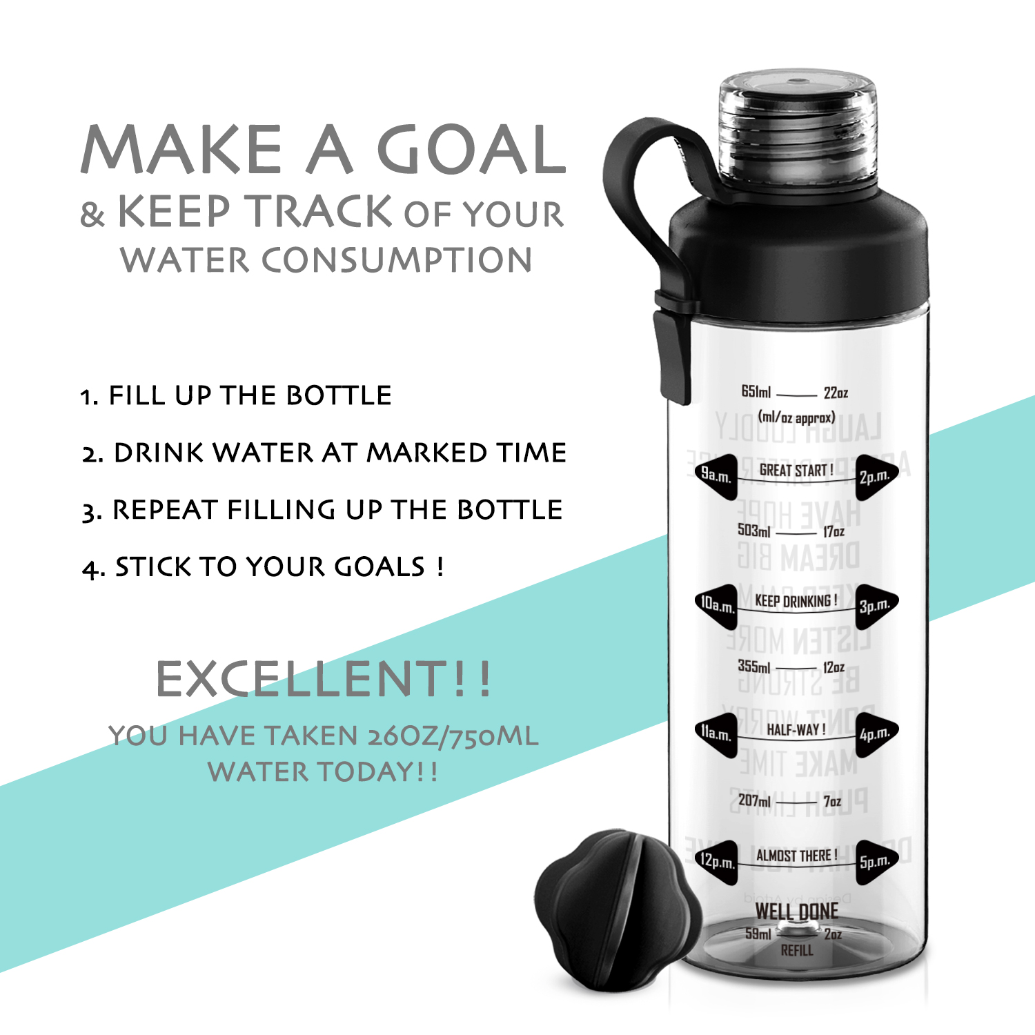 ffe9ce42f5 750ml Motivational Fitness Workout Sports Water Bottle w/ Time Marker & Measurements  Goal Marked Times For Measuring Intake-in Water Bottles from Home ...