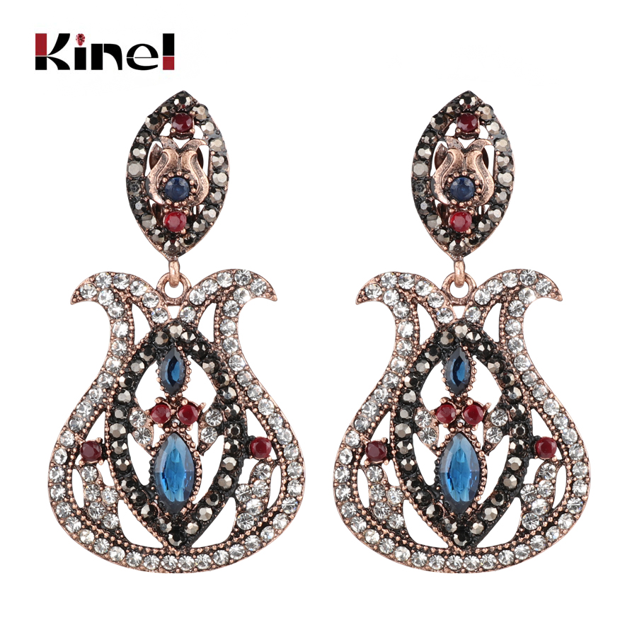 Kinel Fashion Bohemia Jewelry Blue Big Drop Earrings Inlaid Crystal Vintage Earrings For Women Antique Gold Color Christmas Gift Suitable For Men And Women Of All Ages In All Seasons Furniture