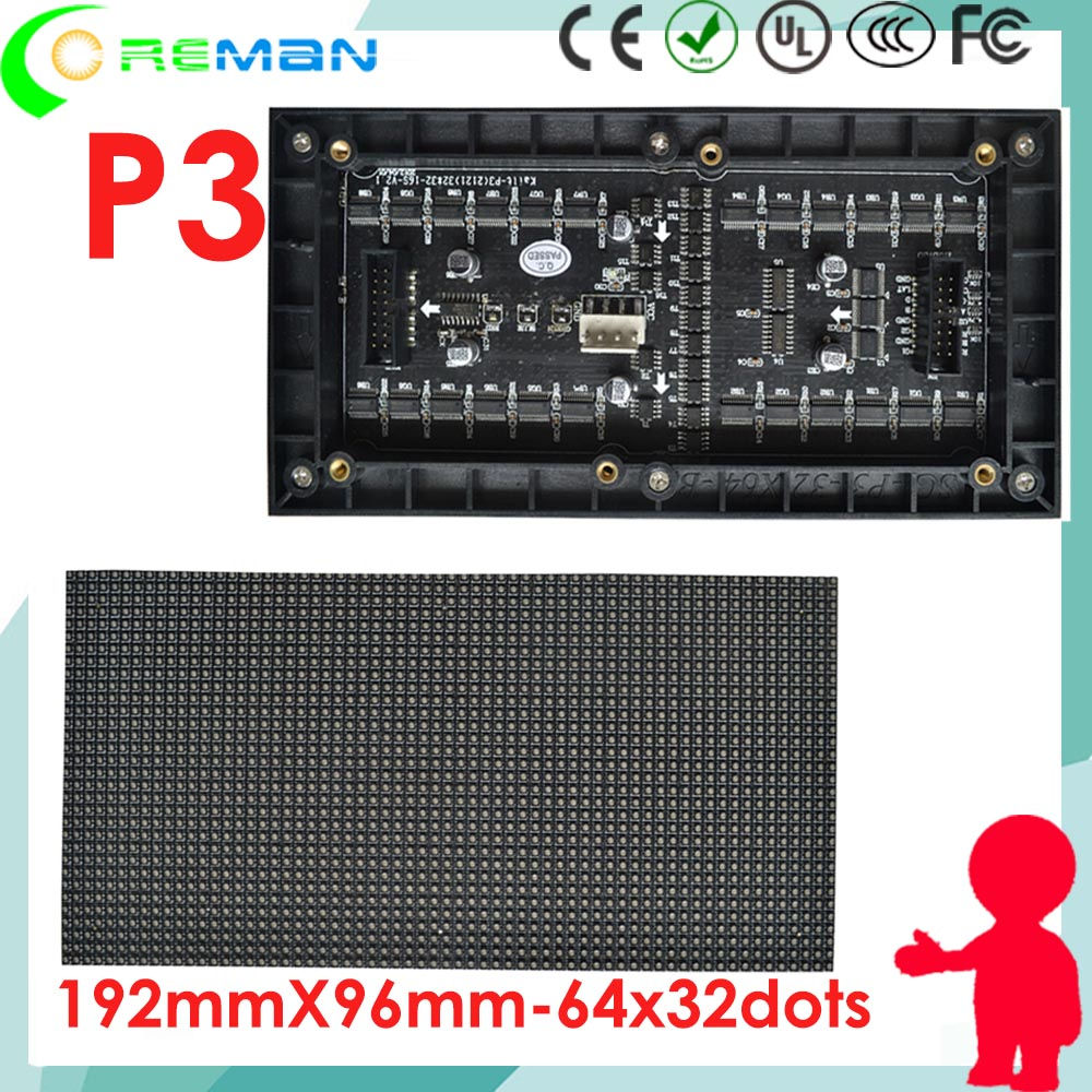 Spanish Aliexpressled Panel Module P3 96mmx192mm 32x64 Dot Matrix Led / SMD2121 Rgb Rental Die Casting Cabinet Led Module P2.5