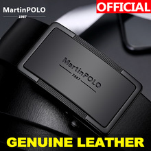 MartinPOLO Men Belt Genuine Leather Automatic Buckle Luxury Brand Male Belts Black Strap Original Natural Cowskin MP01001P