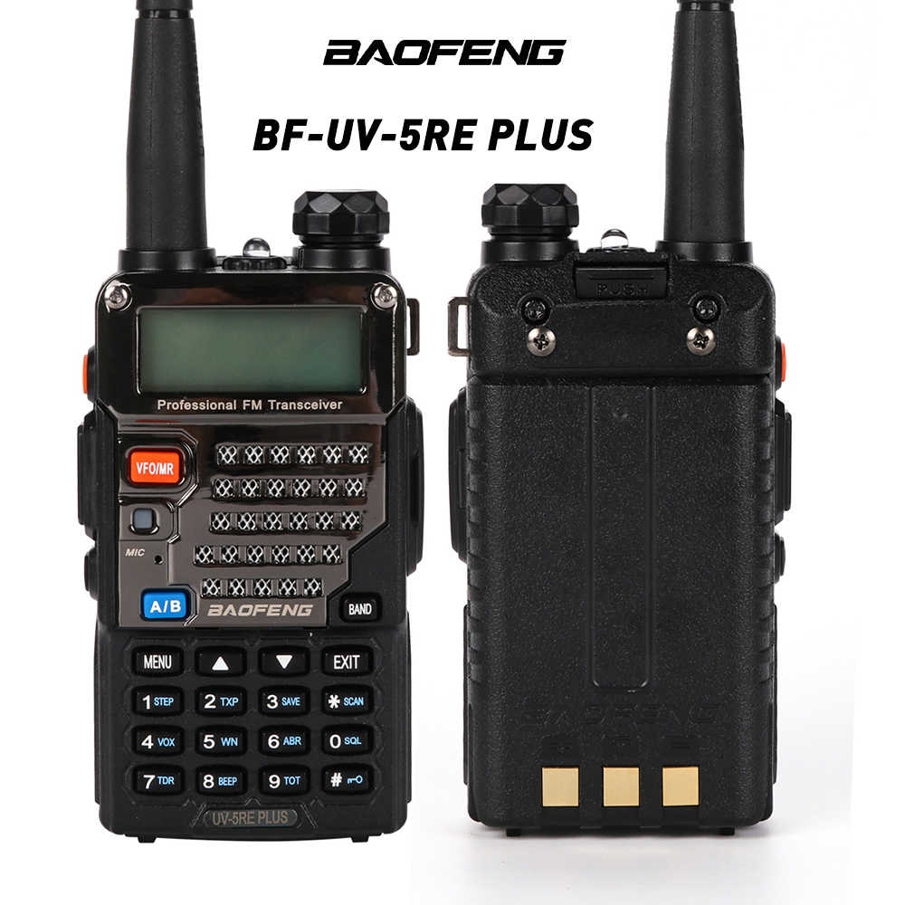 Baofeng BF-UV-5RE Plus Walkie Talkie Dual-Dand VHF/UHF CTCSS & CDCSS twee-weg Radio Walkie Talkie 136-174 MHZ/400-520 HZ LCD Display