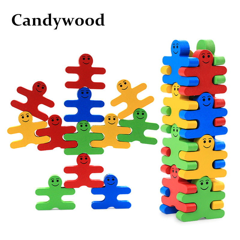 Candywood 16pcs/set Baby Toys Educational balance villain blocks toy Cartoon colorful Balancing Blocks Wooden Toys for Children стоимость
