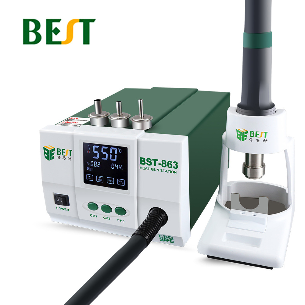 BEST 863 Lead Free Thermostatic Heat Gun Soldering Station 1200W Intelligent LCD Digital Display Rework Station For Phone Repair
