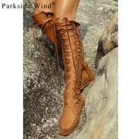 Parkside Wind Cross Tied Knee High Women S Boots Soft PU Leather Flats Shoes Woman Fashion