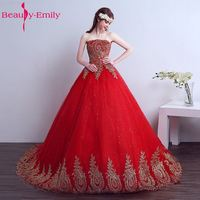 Beauty Emily 2017 Cheap Lace Red Wedding Dress Long Train Plus Size Vintage Ball Gown Robe