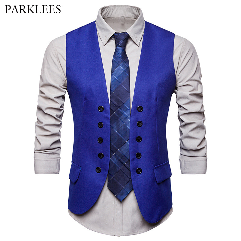Men's Fashion Royal Blue Suit Vest 2018 Brand New Double Breasted Dress Vests For Men Casual Sleeveless Formal Business Jacket