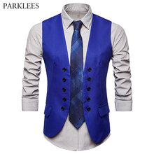 Men's Fashion Royal Blue Suit Vest 2018 Brand New Double Breasted Dress Vests For Men Casual Sleeveless Formal Business Jacket(China)