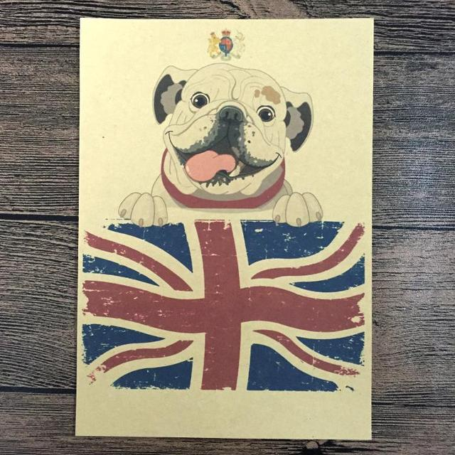 Retro English Bulldog painting Vintage Poster Bar/cafe/Pub Wall Art ...