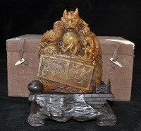 Свадебные украшения 8 Natural Tianhuang Шушан камень дракон, монстр печать штамп с печаткой дерева Box set