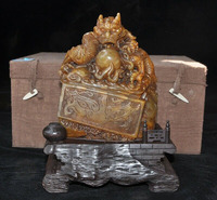 wedding decoration 8 Natural Tianhuang Shoushan Stone Dragon beast Seal stamp signet wood Box set