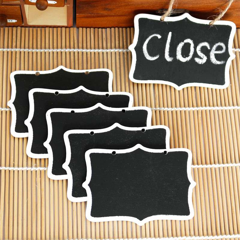 5pcs Mini Wooden Blackboard Chalkboard With String Double Side Label Message Writing Notice Board Boards Office School Supplies