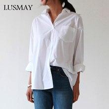 Повседневные свободные женские рубашки, осень, новая мода, воротник плюс размер, блузка с длинным рукавом, пуговицы, белая рубашка, женские топы, уличная одежда