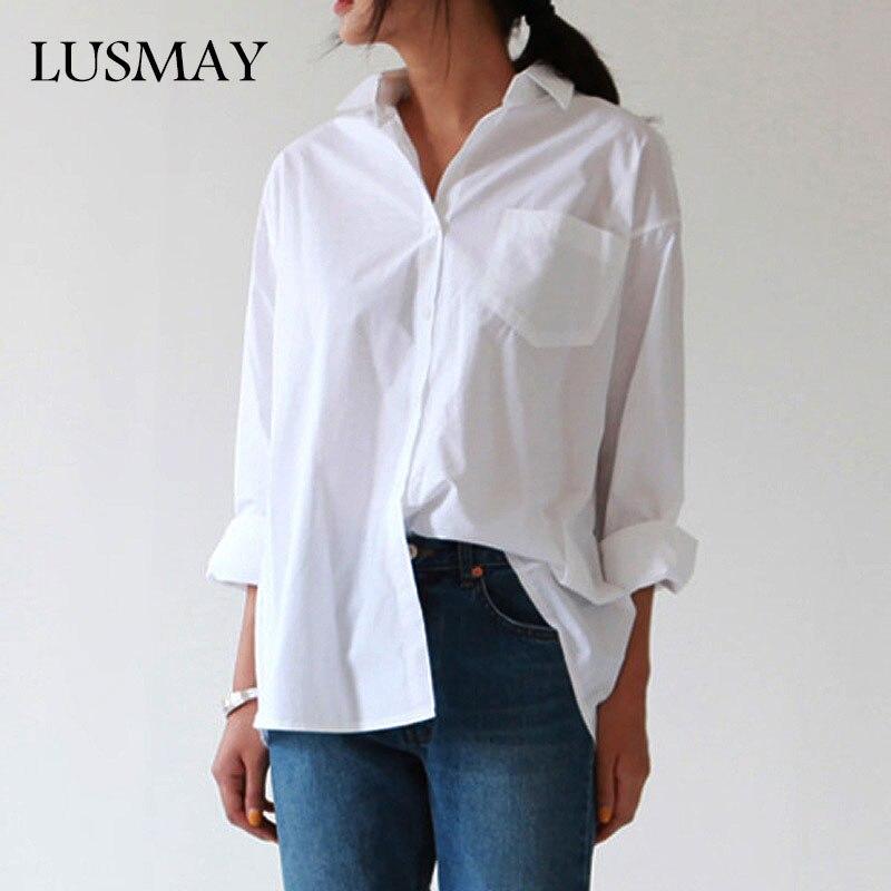 Повседневные свободные женские рубашки 2019 Осень Новая мода воротник плюс размер Блузка длинный рукав кнопки белая рубашка женские топы уличная