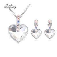 Son kalp şekilli kolye ve küpe düğün jewerly setleri ile yapılan kadınlar için Avusturyalı kristal takı hediye Noel için