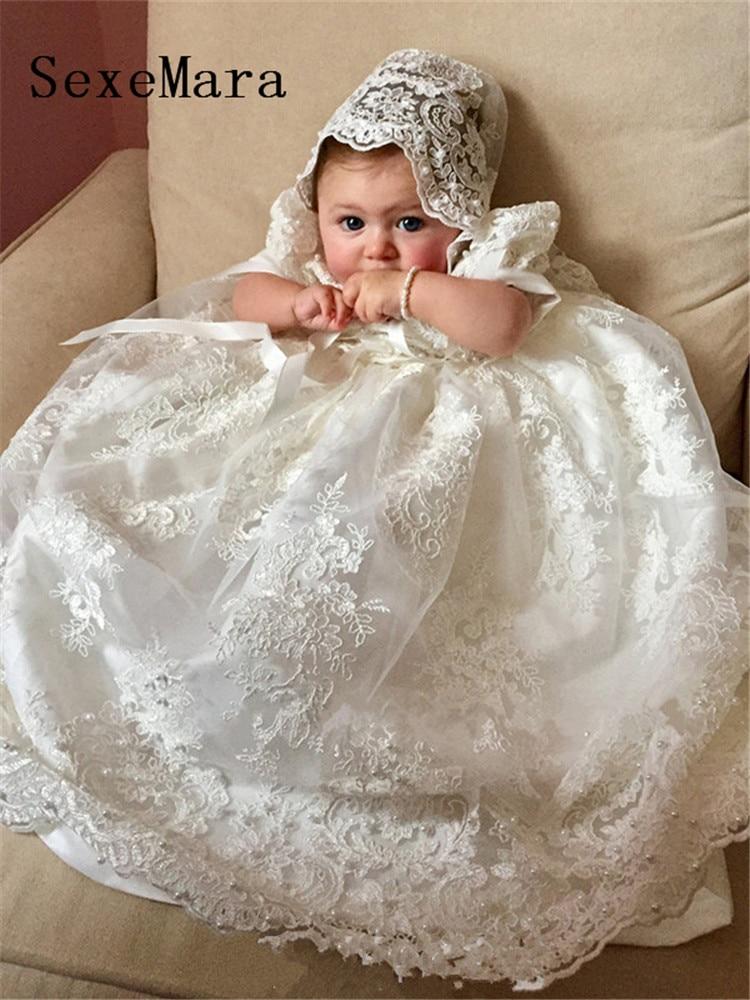 New Bonito Longo Vestido De Baptizado para Meninas Do Bebê Rendas Batismo Vestido Branco Marfim Pérolas de Manga Curta Personalizado