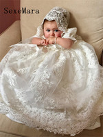 New Cute Long Christening Gown for Baby Girls Lace Pearls Short Sleeve Customized Baptism Dress White Ivory