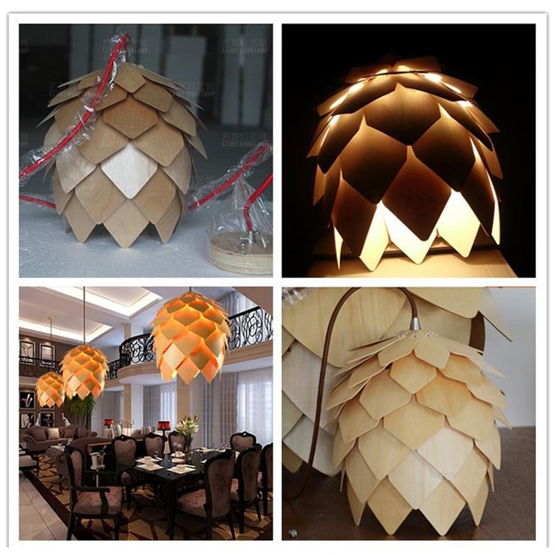Dynasty Art Decorative Fashion Wooden Pendant Light Egg Oak Shape Modern Hanging Lamp Foyer Parlor Restaurant Living Dining Room