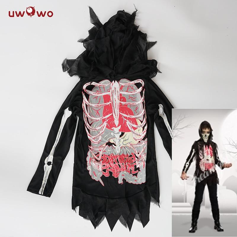 UWOWO Skeleton  Halloween Costume For Women Child Scary Party Cosplay Boys Halloween Costume Kids Black Skeleton Cosplay