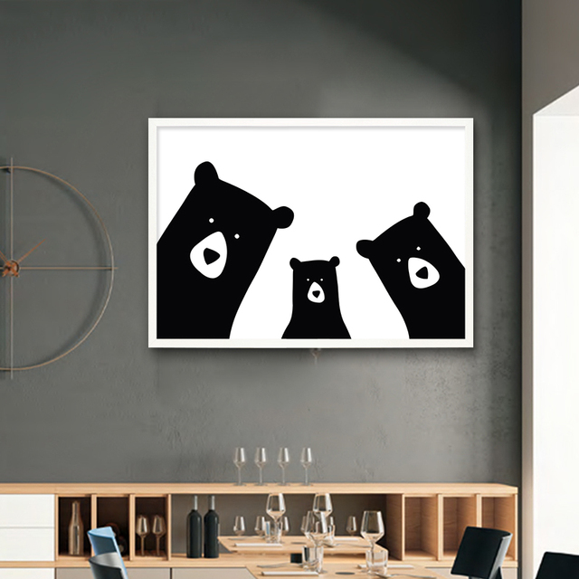Cute Bear Family Animal Canvas Painting Black White Cartoon Poster