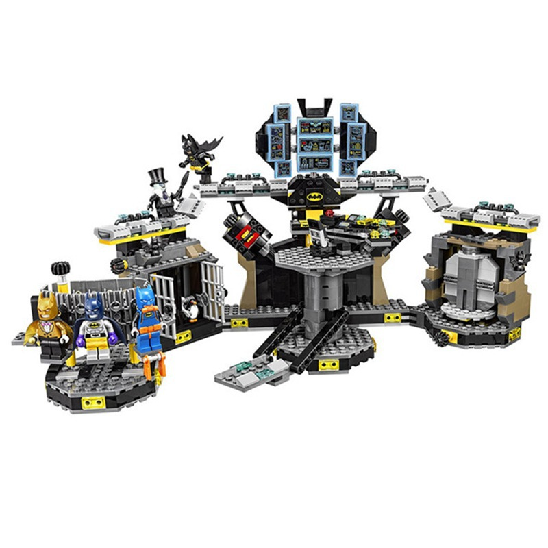 Compatible with 70909 07052 super heroes movie blocks Batcave Break-in toys for children building blocks bela 10636 batman movie batcave break in man bat bricks sets building block toys compatible legoed batman 70909
