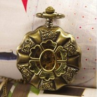2012 Free Shipping Hot Sale Wholesale Ladies Mens New Antique Mechanical Pocket Watch Necklace Bronze Steampunk