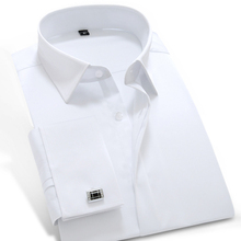2017 Men s Long Sleeved French Cuff Solid Dress Shirt Spread Collar 100 Cotton Soft Slim