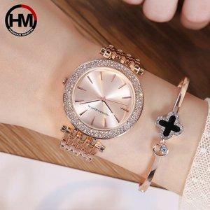 Image 5 - Kadın Rhinestones Saatler Top Marka Lüks Gül Altın Elmas Iş Moda Kuvars Su Geçirmez Saatı Relogio Feminino