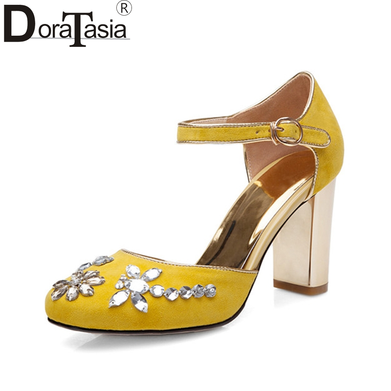 DoraTasia 2018 Summer New Arrival Crystal Women Sandals Natural Kid Suede High Heels Shoes Woman Shallow Party Shoe 2017 new arrival abnormal jeweled heels rhinestone crystal embellished high heel sandals ankle strap lock summer party shoes
