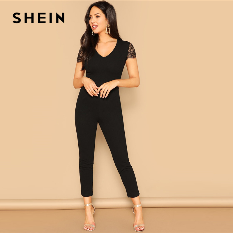 SHEIN Black V Neck Lace Sleeve Skinny Jumpsuit 2019 Women Mid Waist Short Sleeve Trouser Highstreet V Neck Spring Jumpsuits
