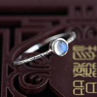 Natural Moonstone Rings For Women Blue Strong Bright 925 Sterling Silver Jewelry Vintage Simple Silver Ring