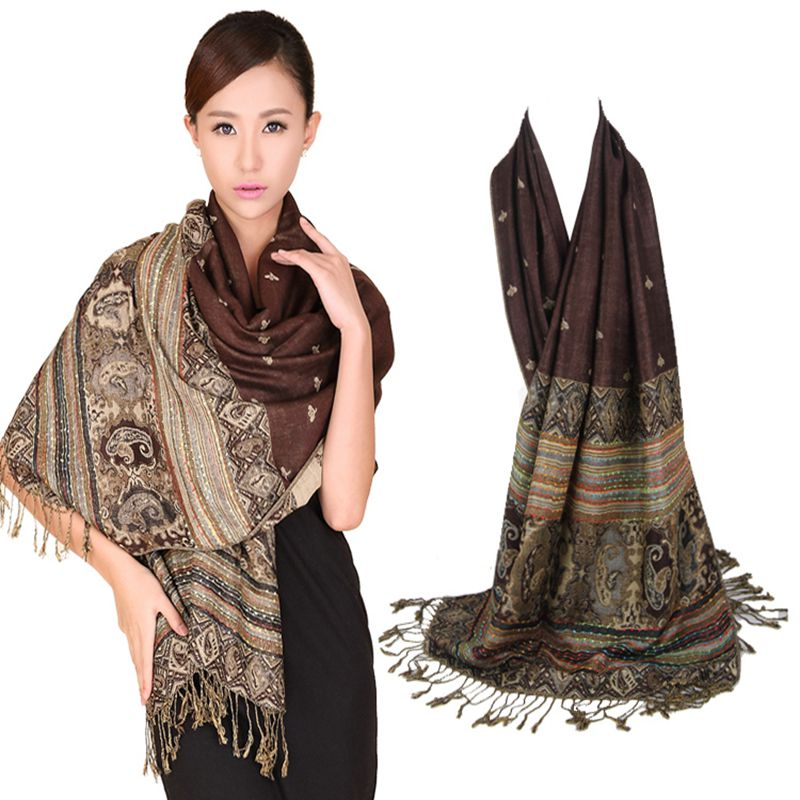 Fashion Scarf Women Double-Sides Fancy Paisley Wrap Scarf Pashmina Shawl Scarf Bee Wrap Shawl