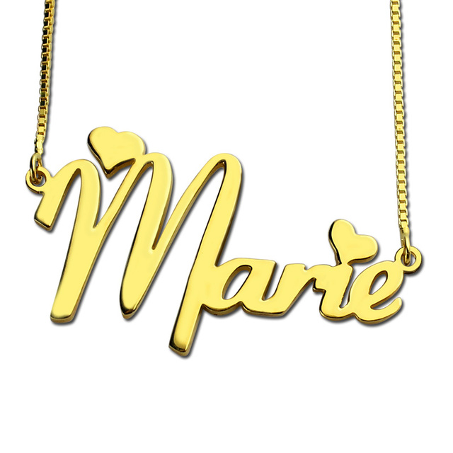 Wholesale Gold Color Nameplate Necklace Personalized Cute Heart Style Name Necklace with Box Chain Unique Birthday Gift for Her
