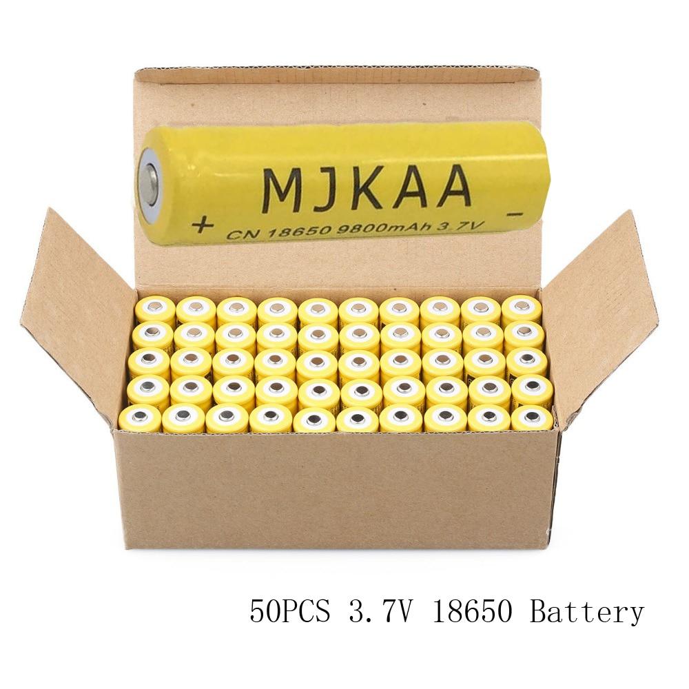 Cncool 50pcs 18650 Battery 9800mAh 3.7V Rechargeable Battery Li-ion Lithium Bateria for LED Flashlight Torch Lithium Battery 1pc new sanyo original 18650 li ion lithium battery 3400mah ncr18650bf 3 7v rechargeable battery for flashlight powerbank