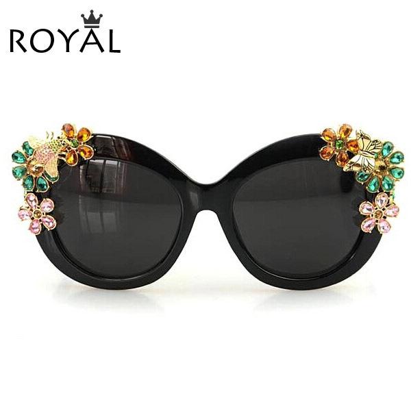 Royal girl marca de lujo declaración joyería de las mujeres de sol gafas de sol flor decoración vintage shades gafas ss302