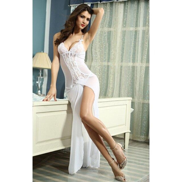 Sexy Vestido De Renda Robe Vestido Longo Maxi Camisola Erotic Lingerie Vestido Babydoll de Noiva Com Decote Em V Spaghetti Strap Vestido Chemises
