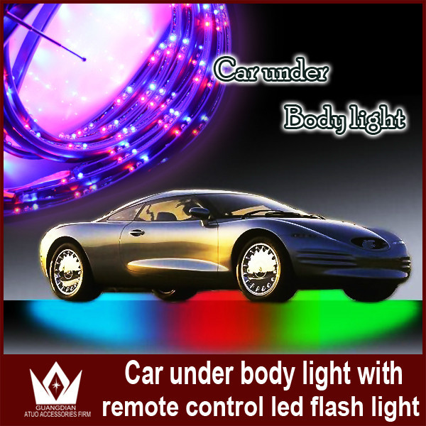 ФОТО Guang Dian Under Car LED Glow Underbody System Adapter Flexible Light Led Tape Home Car Decoration Lamps  7 Color 15 Modes