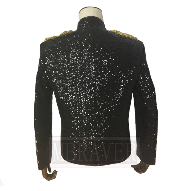 MJ Michael Jackson Coat Dance Sequins Suit Jacket Stage Singer Cosplay Costume Uniform Halloween Outfit Clothes Custom Made