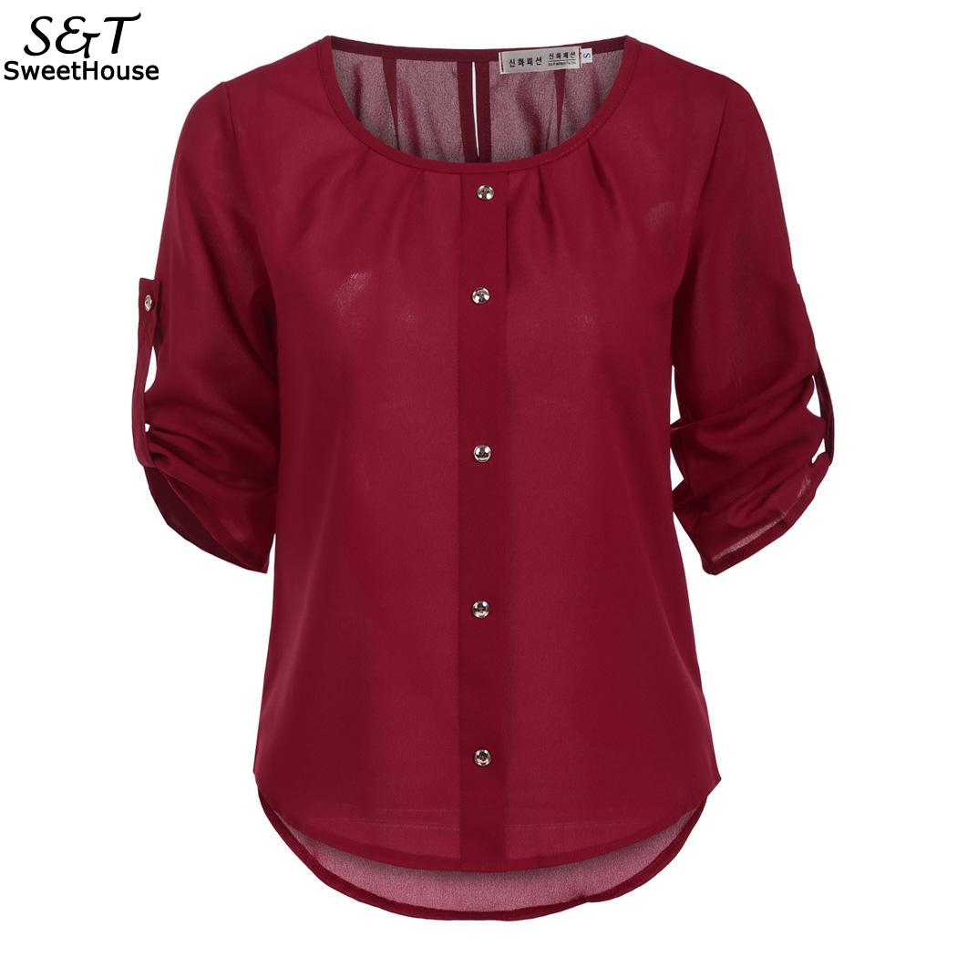 Sleeve Women Lady Loose 3/4 Fashion Casual   Blouse     Shirt   Tops