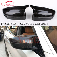 M5 Carbon fiber Side Door Mirror Cover Mirror Caps for BMW G30 G31 G32 G11 G12 5 6 7 Series 2017 + LHD ABS Black / White Color