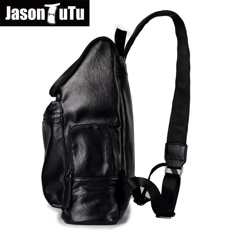 2cee64e619 JASON TUTU Ordinateur Portable sac à dos sac à dos de mochila Bonne qualité  Noir PU Cuir hommes Jeunes double école d'épaule sacs B549 dans Sacs à dos  de ...