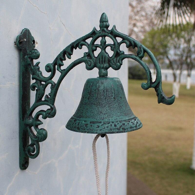 Européen Vintage vert Fleur De Lis Design en fonte maison jardin décor mural main manivelle cloche