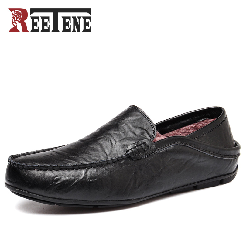 REETENE Plush Casual Driving Shoes Winter Genuine Leather Loafers Men Shoes 2017 New Men Loafers Plush Flats Shoes Men Chaussure 2017 flats new arrival autumn winter casual men genuine leather loafers comfortable light driving shoes handmade moccasins shoes