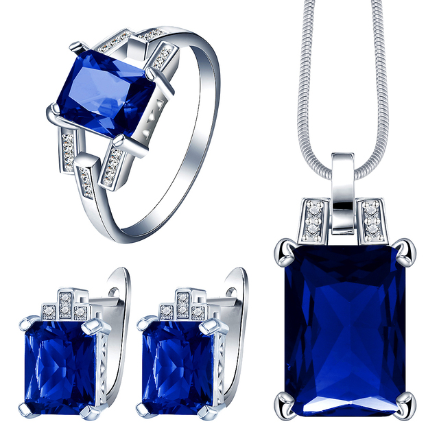 Blue, Red or Green Zircon Style Women Ring and Necklace Set