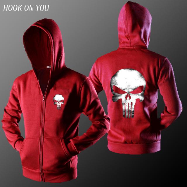 2017 New Hot Movie  Dark Souls The Punisher Skull Men Zipper Cardigan Hoodies Print Coat Clothes Casual Sweatshirt