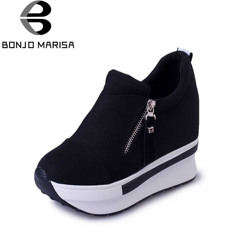 BONJOMARISA spring autumn fashion platform shoes with zip casual sweet sneakers shallow women shoes size 35-40