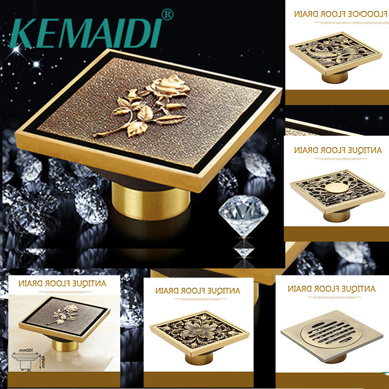 KEMAIDI Design Good Quality Bathroom Antique Brass Floor Drain Shower Drainer Kitchen Waste Drain Bathroom Accessaries